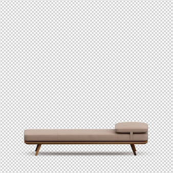 Изометрическая кровать 3d визуализации изолированы
