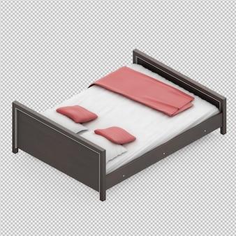 아이소 메트릭 침대 3d 렌더링