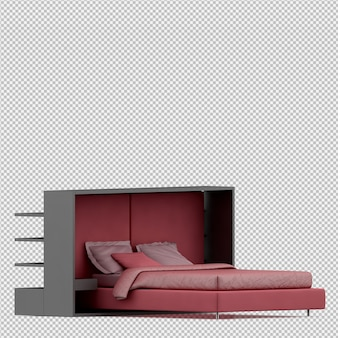 Isometric bed 3d render