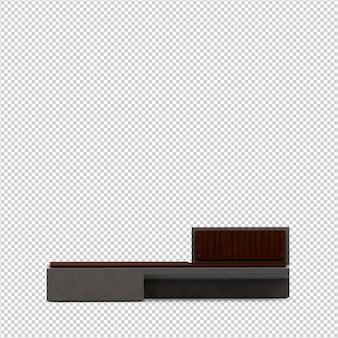 Isometric bench 3d render