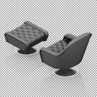 Isometric black armchair with leg rest