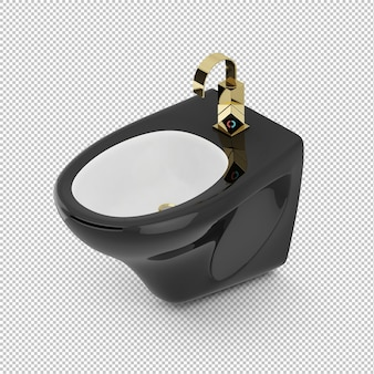 Isometric black toilet