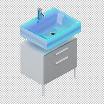 Isometric blue sink