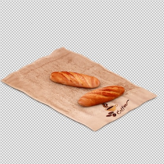 Isometric bread 3d isolated render