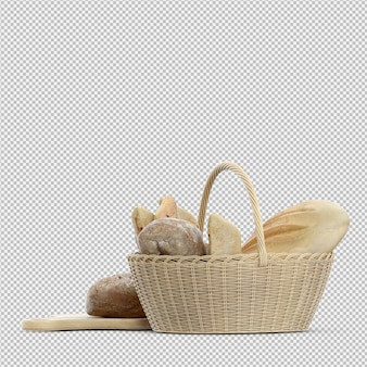 Isometric bread 3d isolated