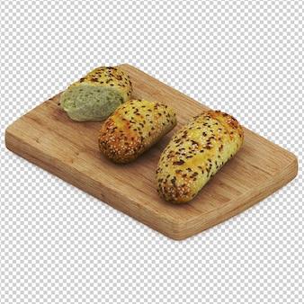 Isometric bread on wooden cutting board