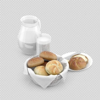 Isometric breakfast 3d isolated