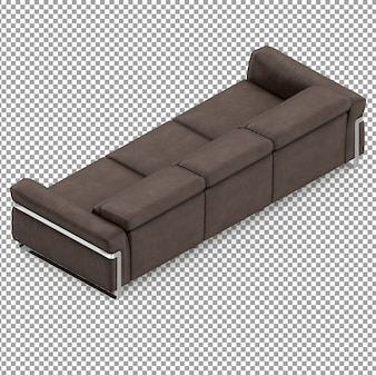 Isometric brown couch from behind
