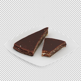 Isometric cake on plate