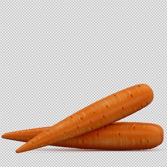 Isometric carrots 3d render