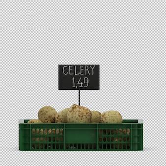 Isometric celery root 3d render