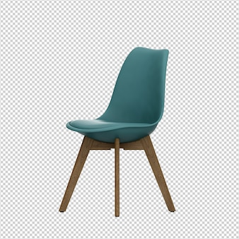 Isometric chair 3d isolated rendering
