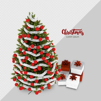 Isometric christmas tree and gifts rendering