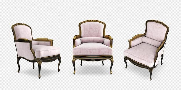 Изометрические классическое кресло в 3d-рендеринге изолированы