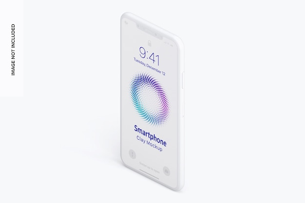 Isometric clay smartphone mockup left view