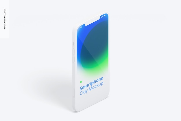 Isometric clay smartphone mockup, portrait left view
