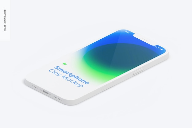 Isometric clay smartphone mockup, right view