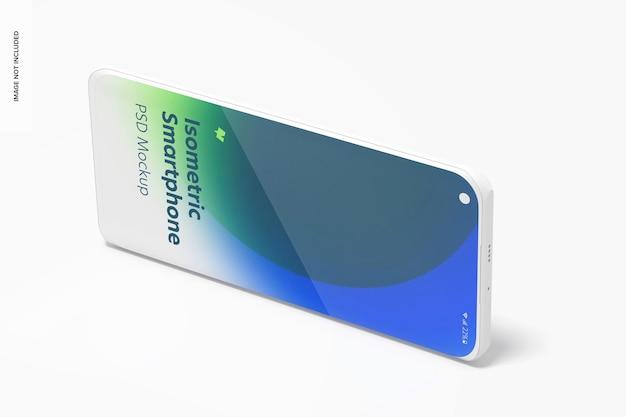 Изометрический глиняный смартфон psd мокап, пейзаж слева