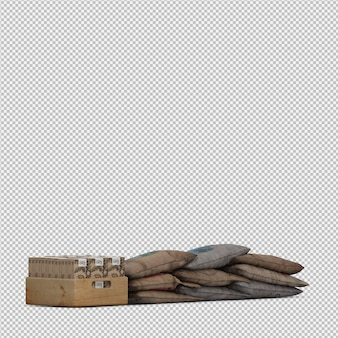 Isometric coffee bag 3d isolated render