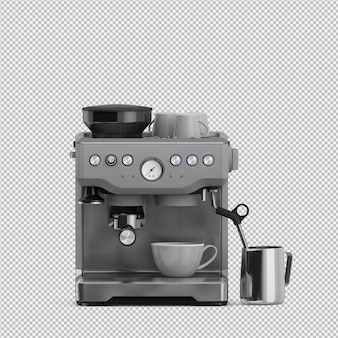 Isometric coffee machine 3d isolated render