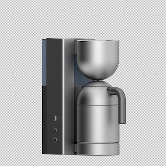 Isometric coffee machine 3d isolated rendering