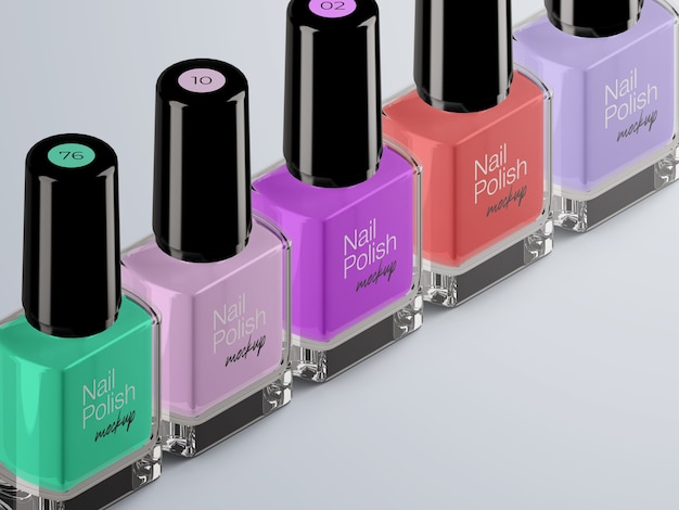 Isometric cosmetic mockup of nail polish bottles packaging isolated