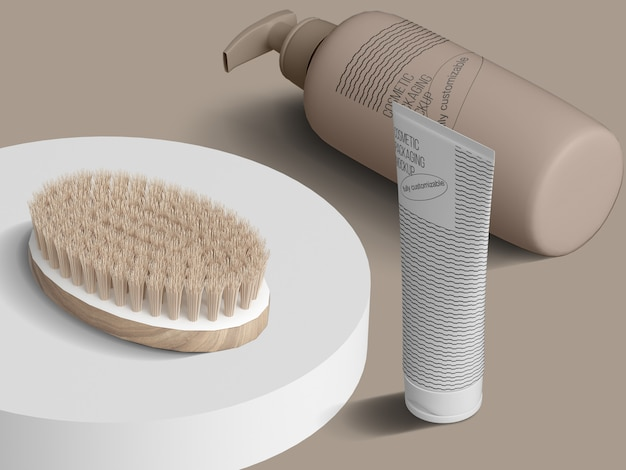 Isometric cosmetic packaging mockup template with brush on podium