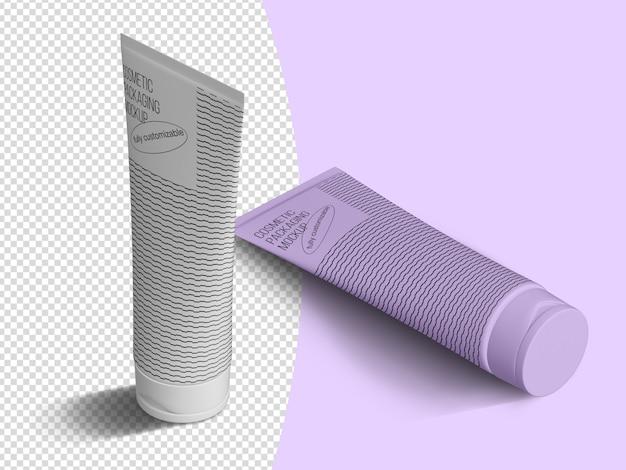 Isometric cosmetic tubes mockup template