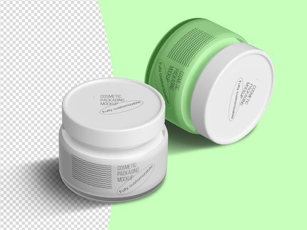Isometric cream jars mockup template