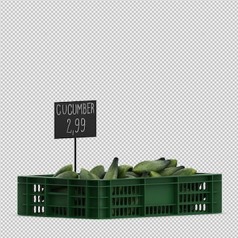 Isometric cucumbers 3d render