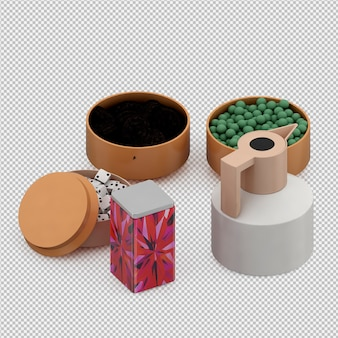 Isometric cup set 3d render