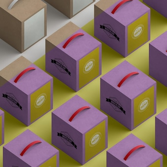 Isometric design cardboard boxes