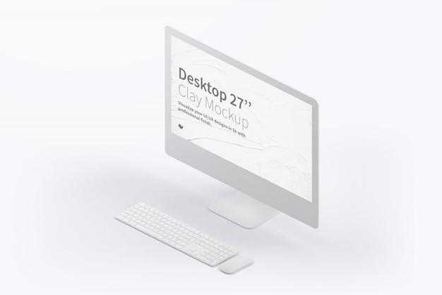 키보드와 마우스와 함께 아이소 메트릭 데스크톱 컴퓨터 이랑