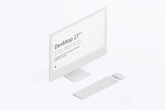 Isometric desktop computer mockup with keyboard and mouse