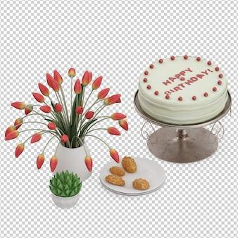 Isometric dessert cake