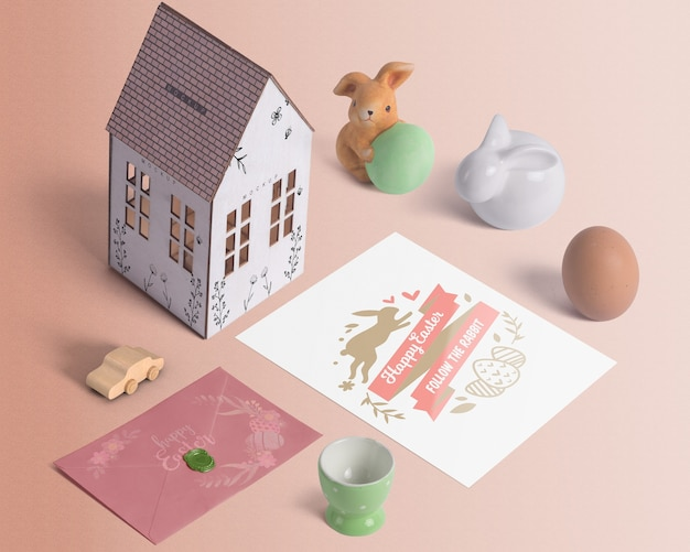 Isometric easter mockup composition