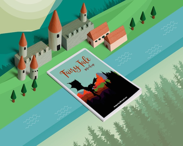 Isometric fairy tale mockup with cover