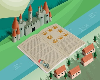 Isometric fairy tale mockup with open brochure