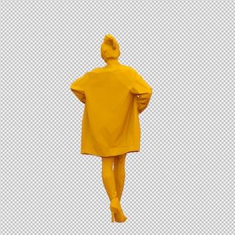 Isometric female 3d render