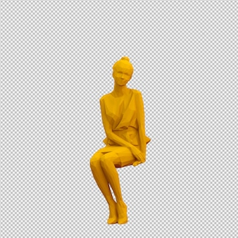 Isometric female 3d render