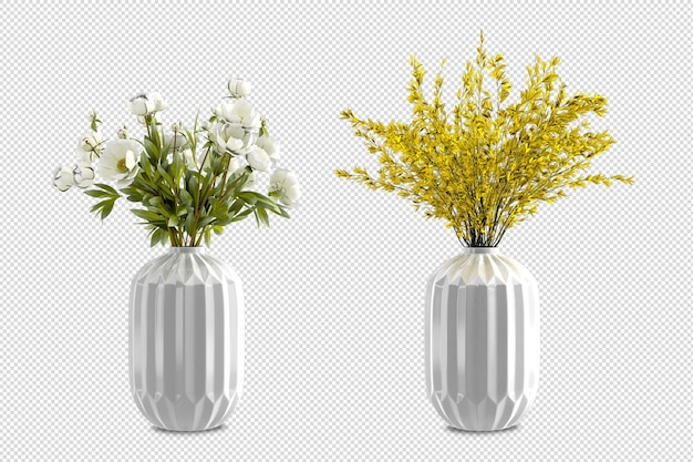 Isometric flowers in vase 3d rendering isolated