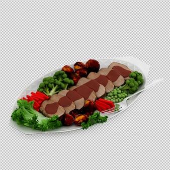 접시 3d 렌더링에 아이소 메트릭 음식