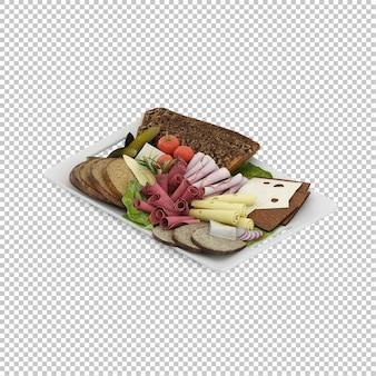 Изометрическая пища на тарелке Premium Psd