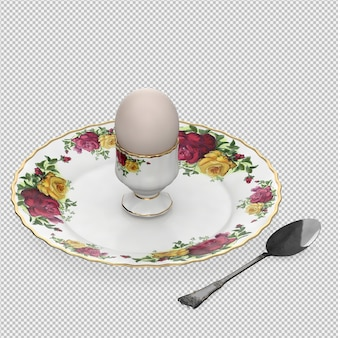 Isometric food on plate 3d render