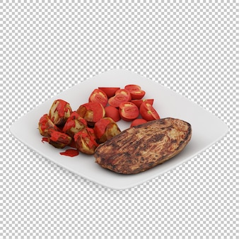 Isometric food on plate