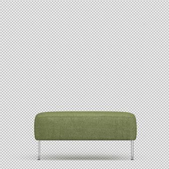 Isometric foot stool chair 3d render
