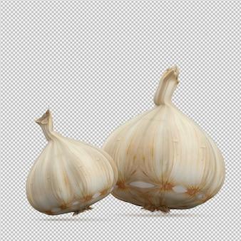 Isometric garlic 3d render