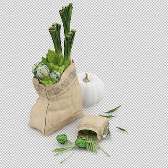 Isometric grosery bag 3d render