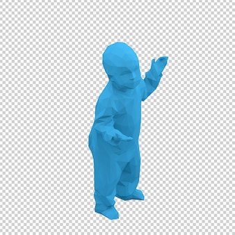 Isometric kid 3d render