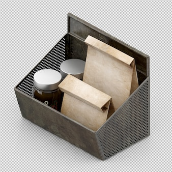 Isometric kitchen accessories 3d render